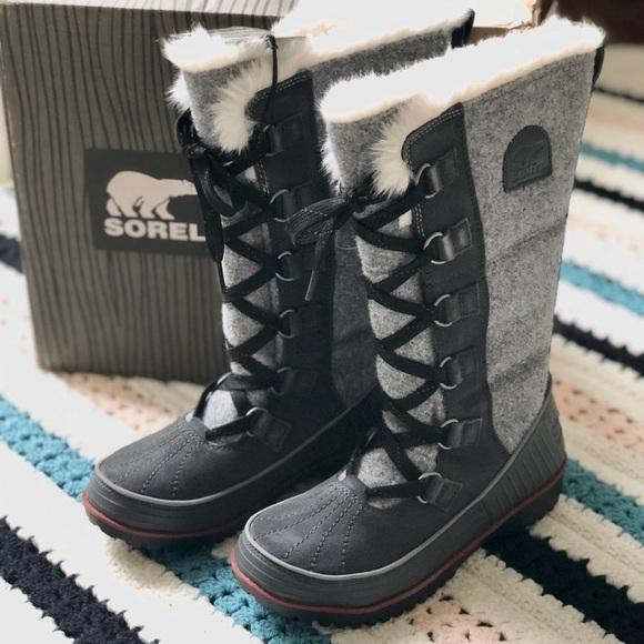 cbf11ceb14768 SOREL Tivoli High II paneled gray felt suede boot